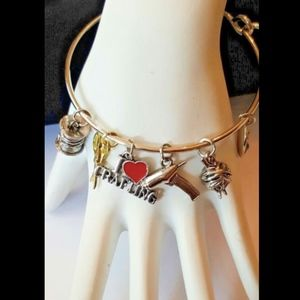 Silver Plated I Heart Crafting Charm Bracelet yarn